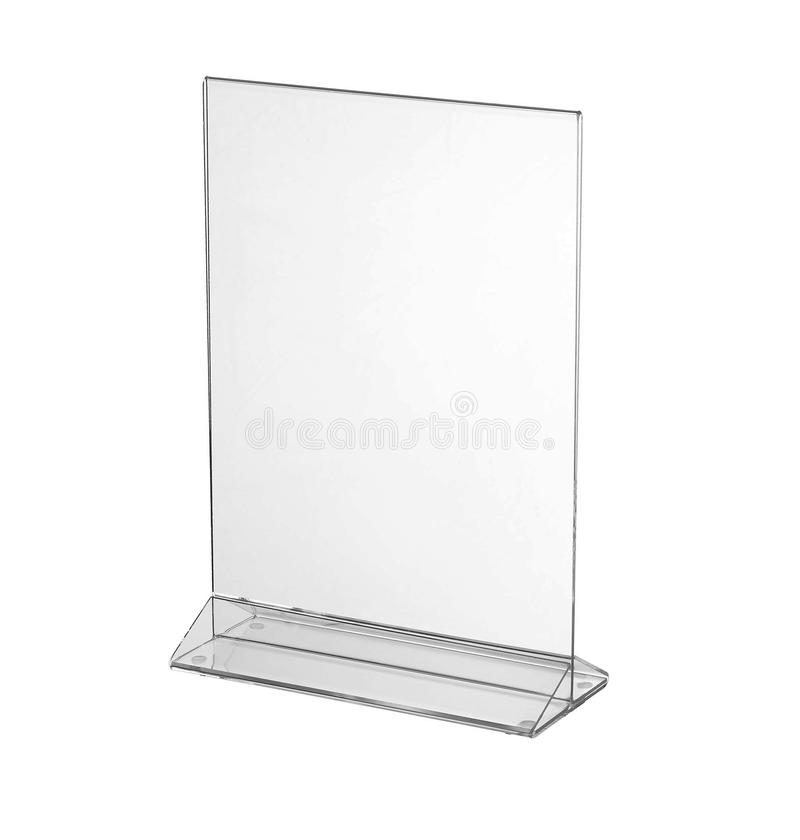 Esposizione acrilica trasparente del supporto della tavola per il menu isolato, fondo bianco immagini stock libere da diritti