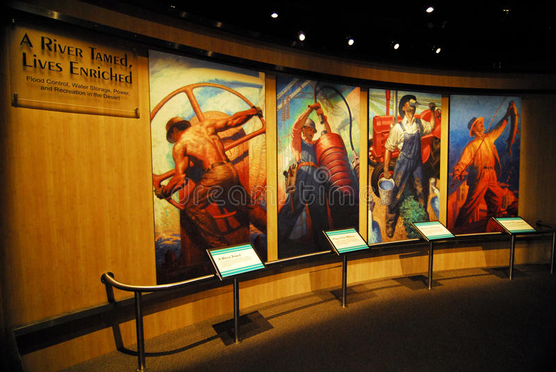 Esposizione al centro dell'ospite della diga di Hoover immagine stock libera da diritti