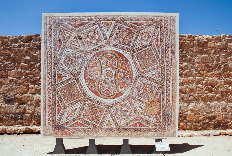 Esposizione al museo del buon samaritano dei mosaici Pavimento di mosaico per immagine stock