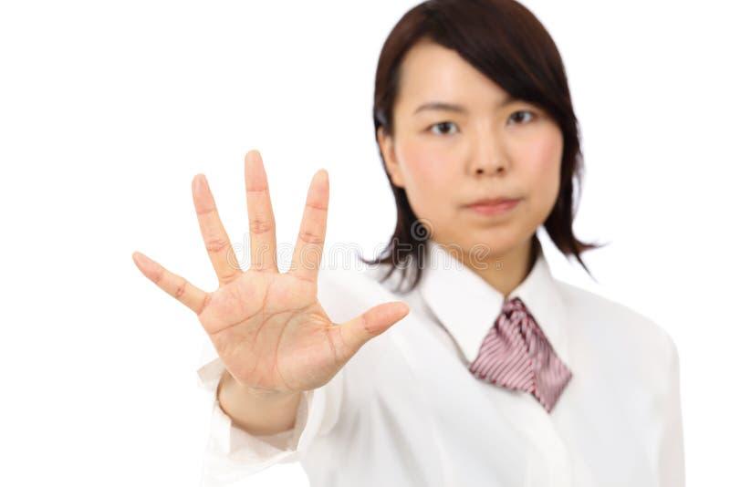 Esposizione asiatica della donna di affari di Yound NESSUN gesto fotografie stock libere da diritti
