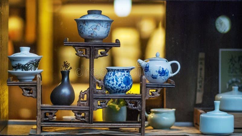 Esposizione cinese delle teiere immagini stock