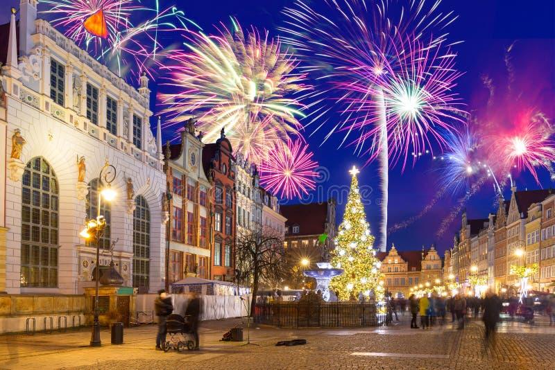 Esposizione dei fuochi d'artificio del nuovo anno a Danzica fotografia stock
