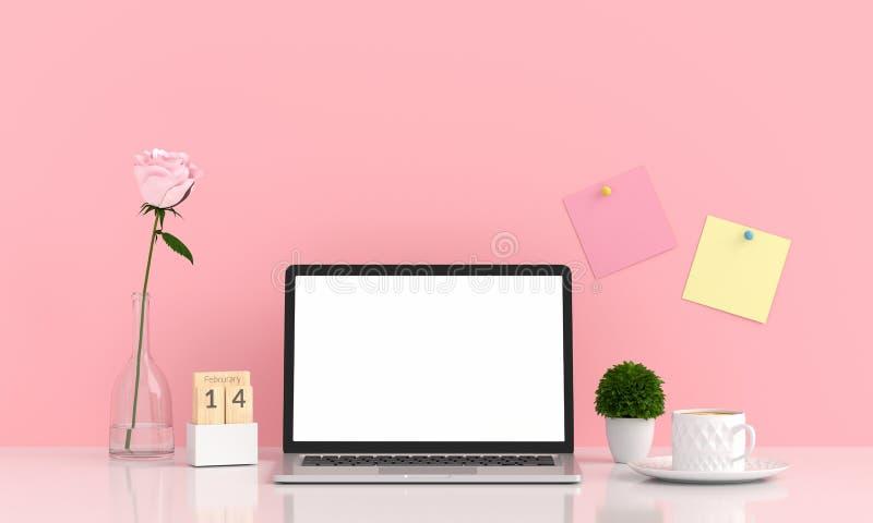 Esposizione del computer portatile per il modello sulla tavola nella stanza rosa, rappresentazione 3D fotografia stock libera da diritti
