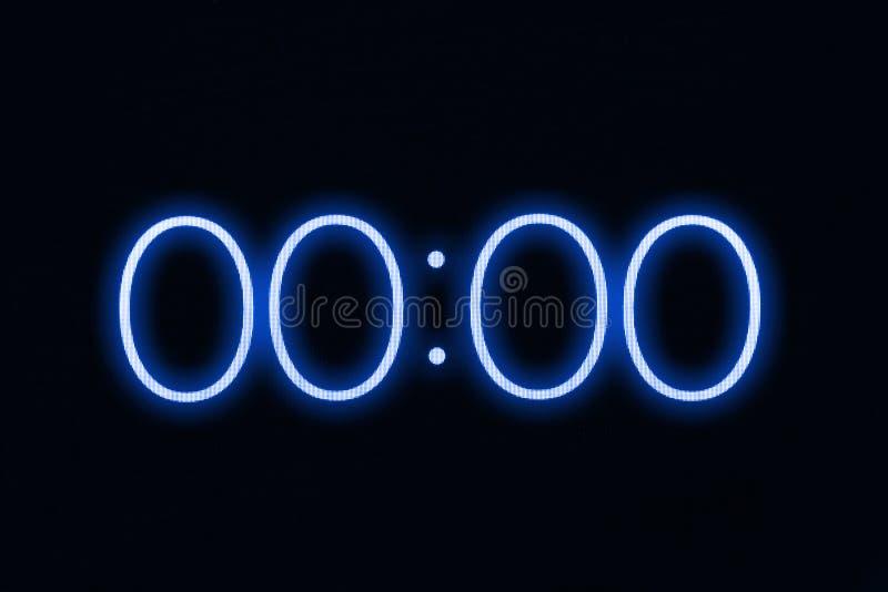 Esposizione del cronometro del temporizzatore dell'orologio di Digital che mostra a 0 i secondi zero Emergenza, sforzo, dal conce fotografia stock libera da diritti