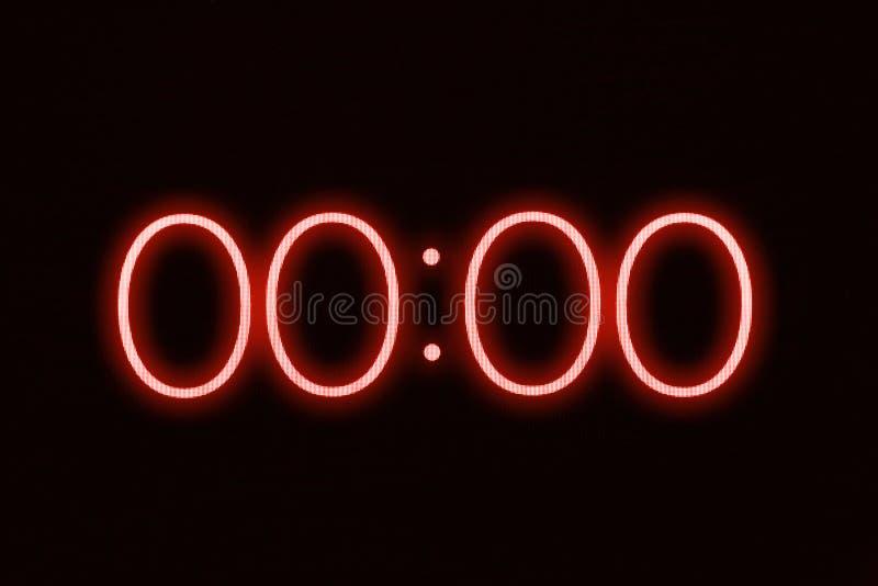 Esposizione del cronometro del temporizzatore dell'orologio di Digital che mostra a 0 i secondi zero Emergenza, sforzo, dal conce fotografia stock