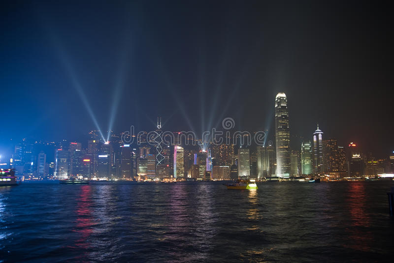 Esposizione del laser di Hong Kong immagine stock libera da diritti