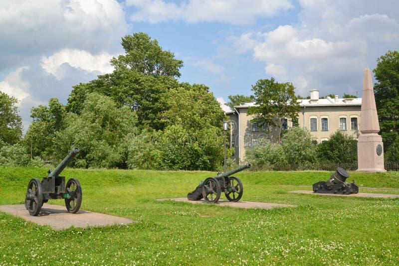 Esposizione delle armi dell'artiglieria del secolo XVIII e dell'obelisco sopra immagini stock