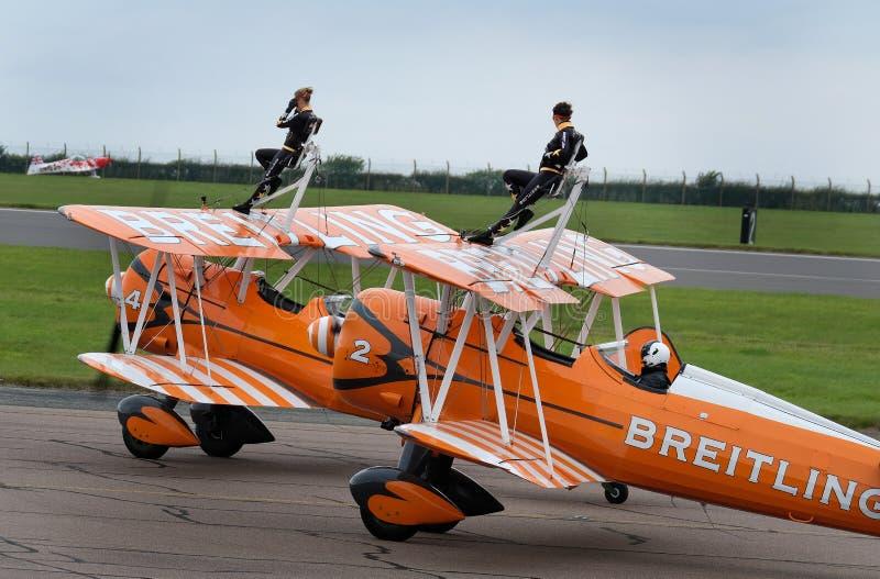 Esposizione di camminata dell'ala con i biplani di Boeing Stearman immagine stock libera da diritti