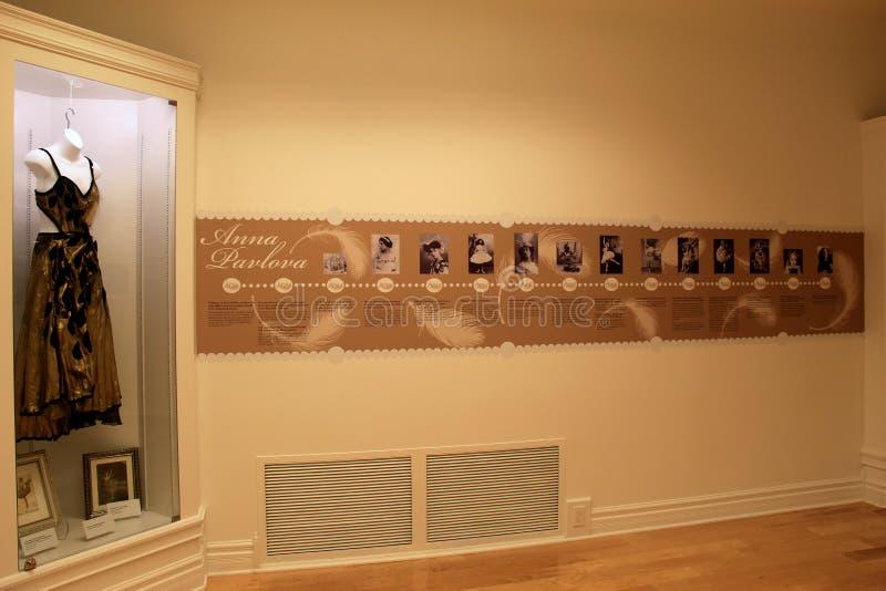 Esposizione di cronologia della vita di Anna Pavlovna, museo nazionale del ballo e hall of fame, Saratoga, New York, 2015 fotografie stock libere da diritti
