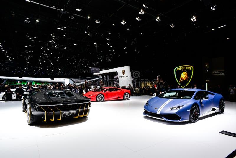 Esposizione di Lamborghini al salone dell'automobile internazionale di Ginevra 2016 immagine stock libera da diritti