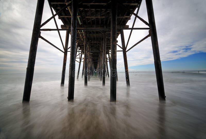 Esposizione di lunghezza di metà di giorno del pilastro di riva dell'oceano fotografie stock