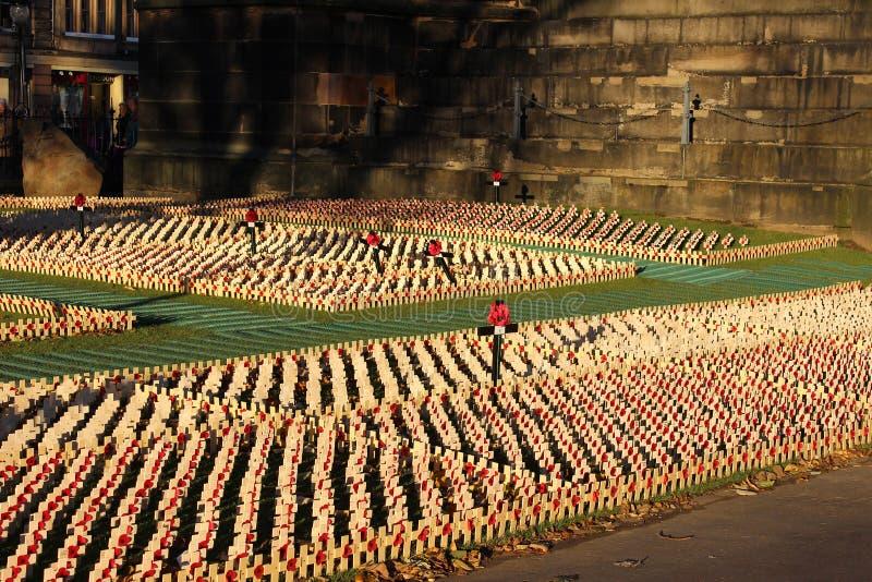 Esposizione di ricordo in principi Gardens Edimburgo fotografie stock