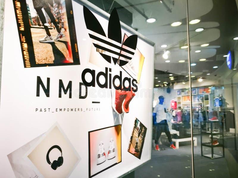 Esposizione di simbolo di originali di Adidas fotografia stock libera da diritti