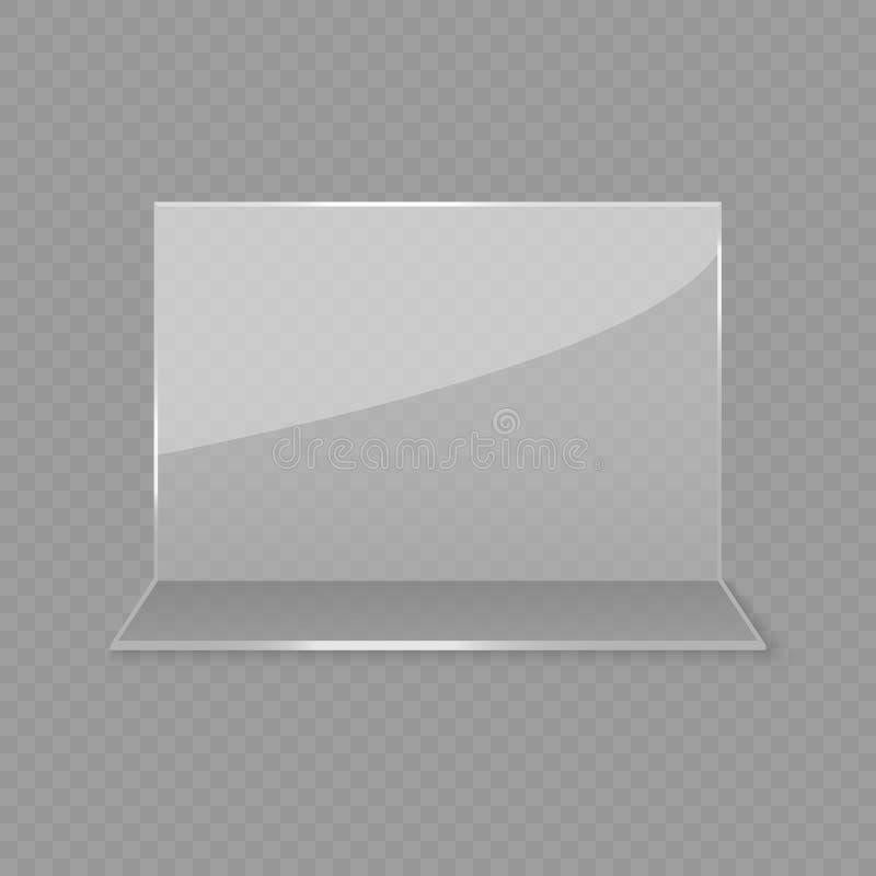 Esposizione di vetro acrilica della carta della tavola illustrazione di stock