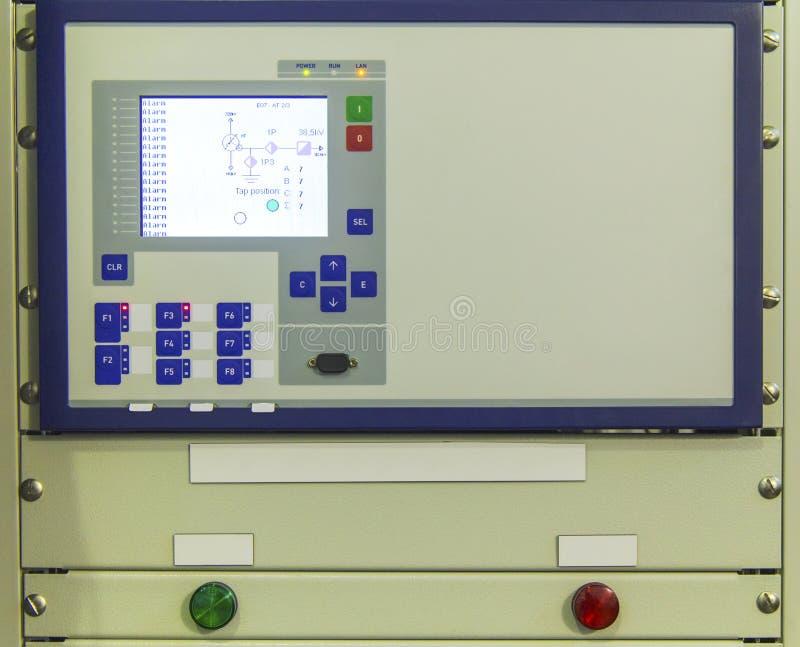 Esposizione e bottoni sul pannello di controllo del dispositivo di controllo elettronico fotografia stock