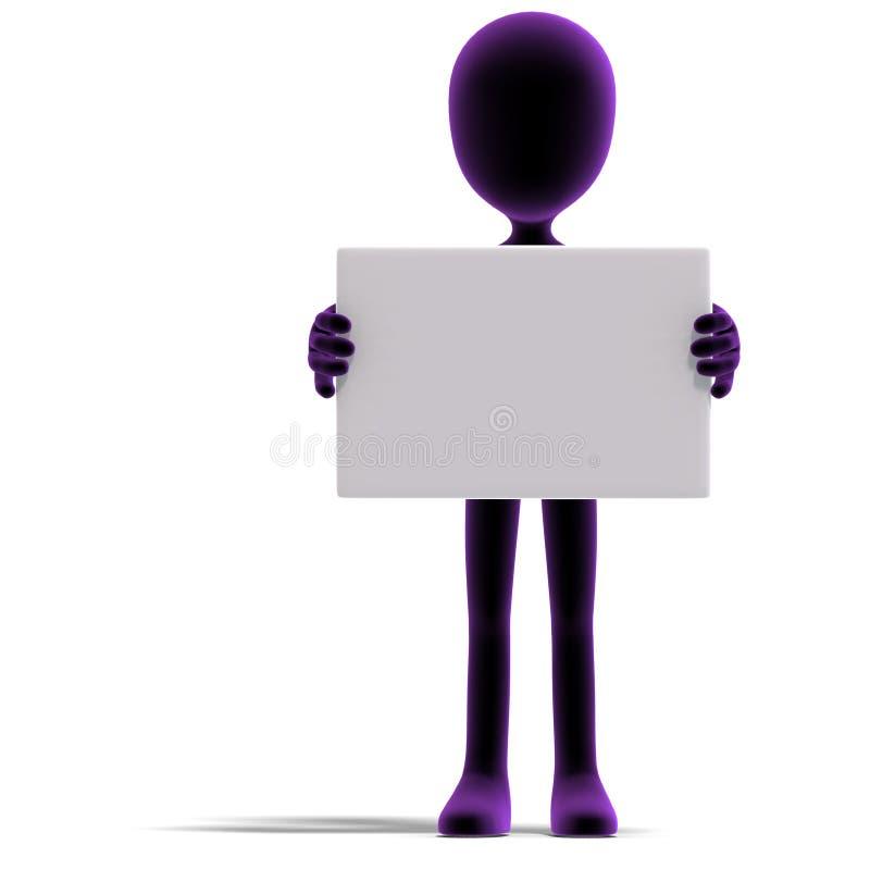Esposizione maschio simbolica del carattere di 3d Toon qualcosa illustrazione vettoriale