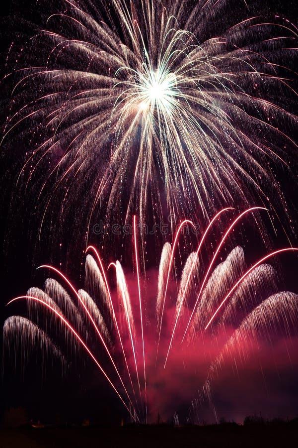 Esposizione porpora dei fuochi d'artificio immagine stock