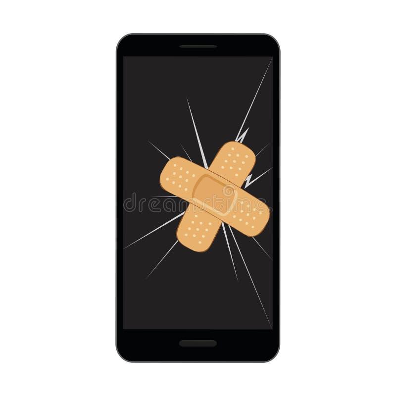 Esposizione rotta del telefono cellulare con il gesso attaccare e della crepa royalty illustrazione gratis