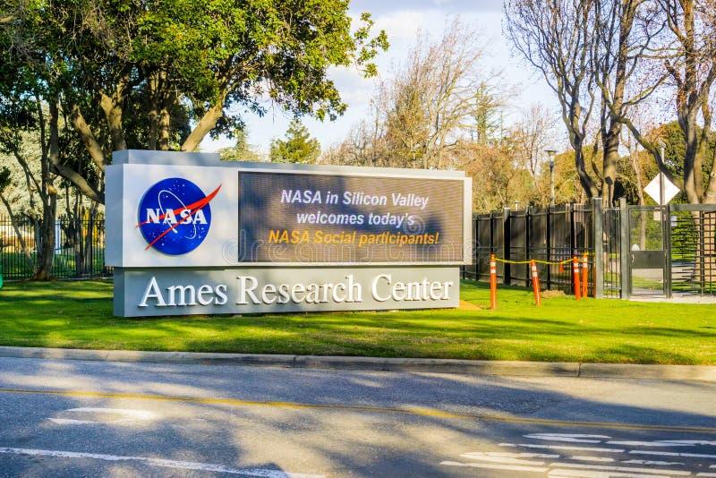 Esposizione situata all'entrata alla NASA Ames Research Center immagine stock