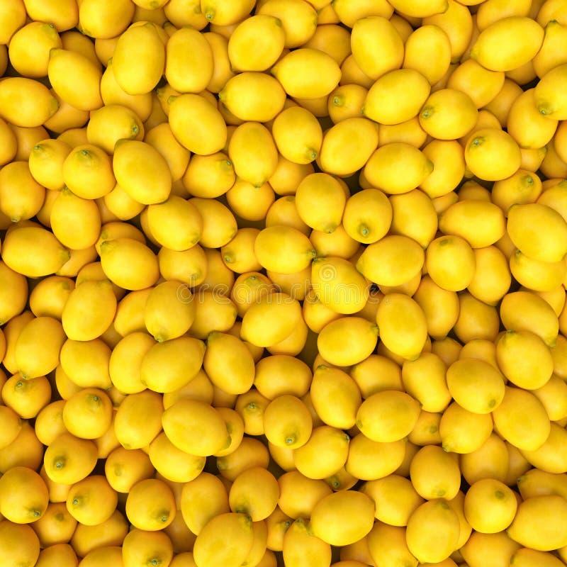 Esposizione variopinta dei limoni nel mercato Fondo del limone illustrazione vettoriale