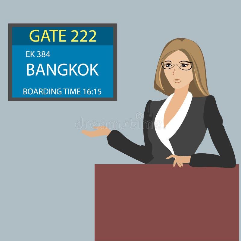 Esposizione vicino al portone per imbarcarsi sulla roba dell'aeroporto e degli aerei, vecto illustrazione di stock