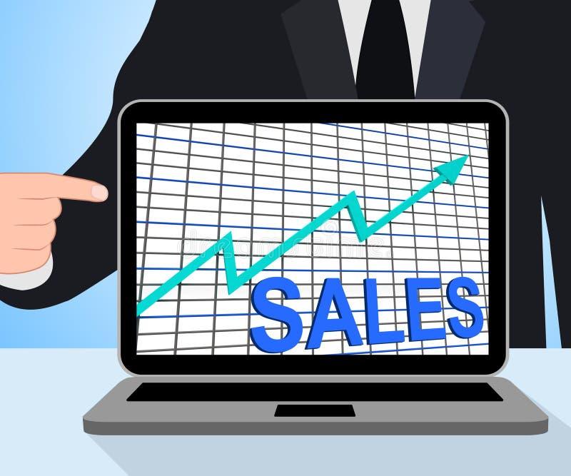Esposizioni del grafico del grafico di vendite che aumentano commercio di profitti royalty illustrazione gratis