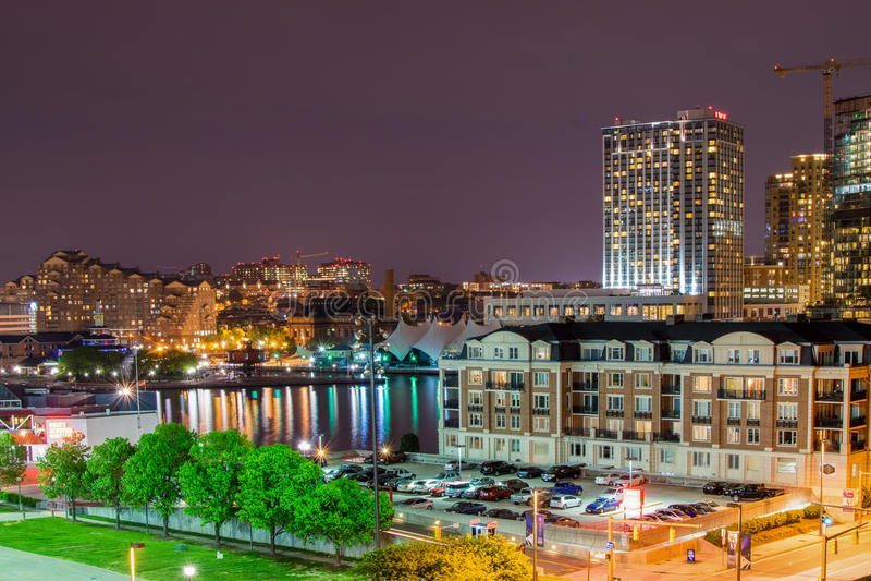 Esposizioni lunghe durante la notte sulla collina federale a Baltimora, m. immagine stock libera da diritti