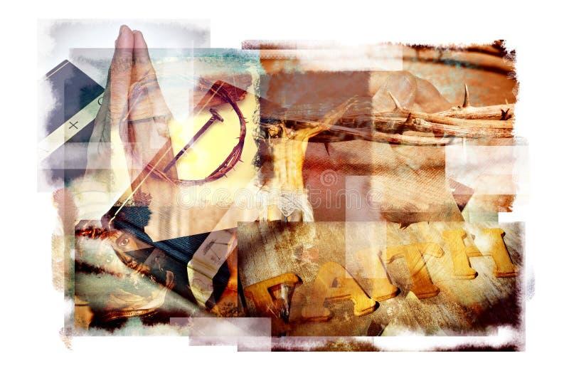 Esposizioni multiple dei simboli cristiani e cattolici differenti fotografia stock libera da diritti
