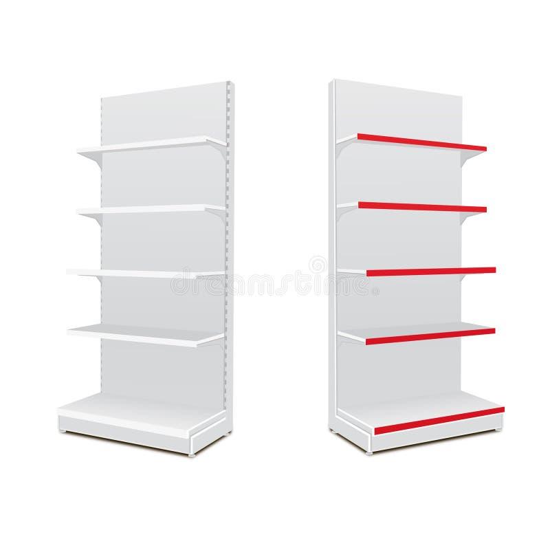 Esposizioni vuote in bianco lunghe bianche della vetrina con gli scaffali al minuto prodotti 3D su fondo bianco isolato Ready per royalty illustrazione gratis