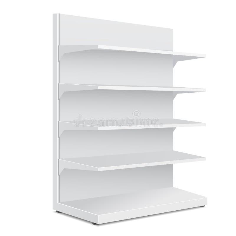 Esposizioni vuote in bianco lunghe bianche della vetrina con i prodotti al minuto degli scaffali royalty illustrazione gratis