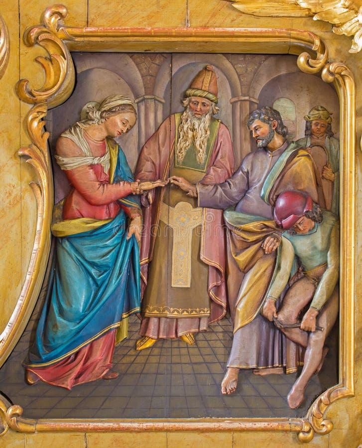 Espousals von Jungfrau Maria und von St- Josephentlastung lizenzfreies stockbild