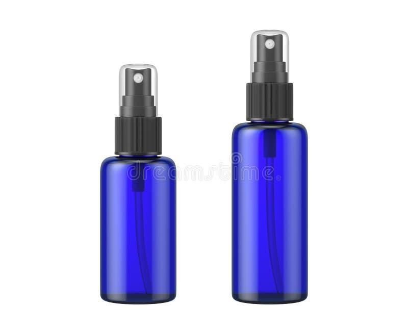 Espray azul de la botella de cristal aislado en el fondo blanco imágenes de archivo libres de regalías