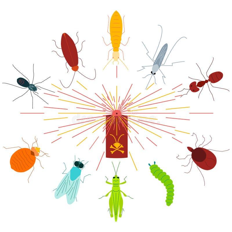 Espray de aerosol del control-insecticida del parásito stock de ilustración