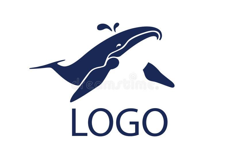 Espray de agua de la ballena azul de la nariz stock de ilustración