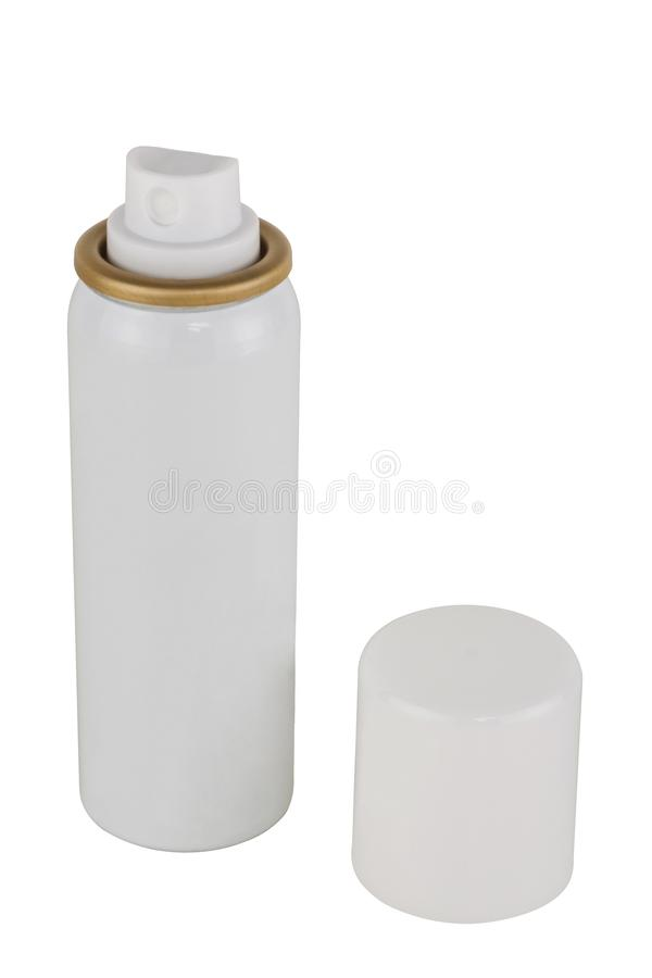 Espray del desodorante aislado en el fondo blanco fotos de archivo