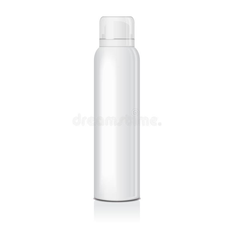 Espray en blanco del desodorante para las mujeres o los hombres Vector la plantilla ascendente falsa de la botella del metal blan stock de ilustración