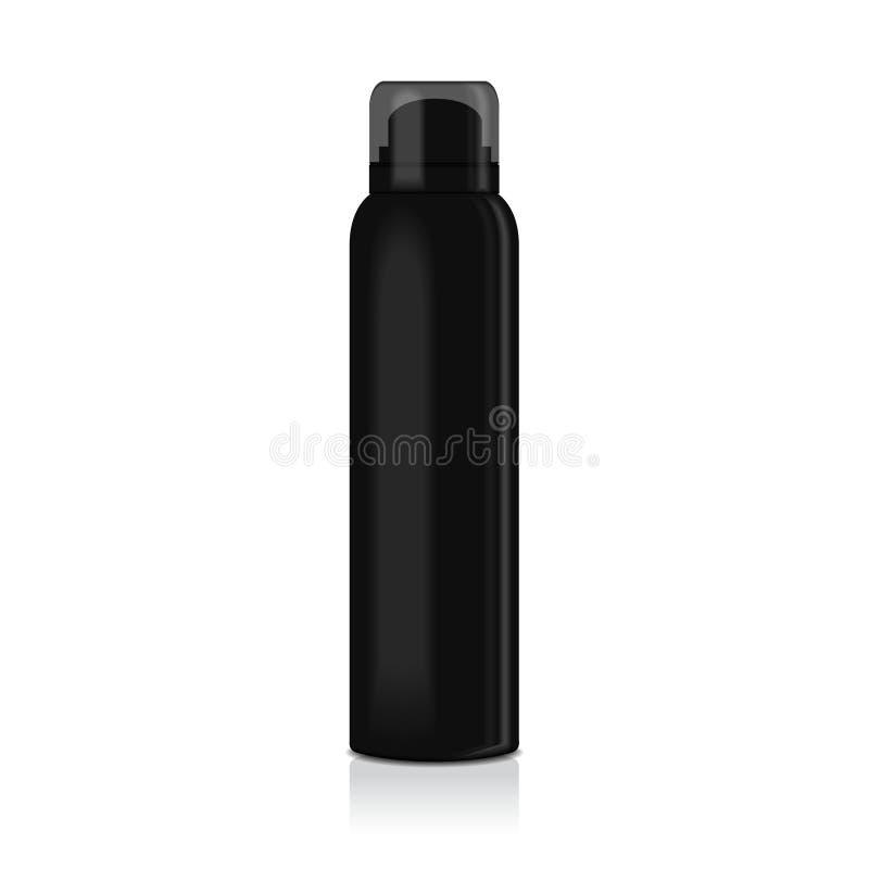 Espray en blanco del desodorante para las mujeres o los hombres Vector la plantilla ascendente falsa de la botella negra del meta ilustración del vector