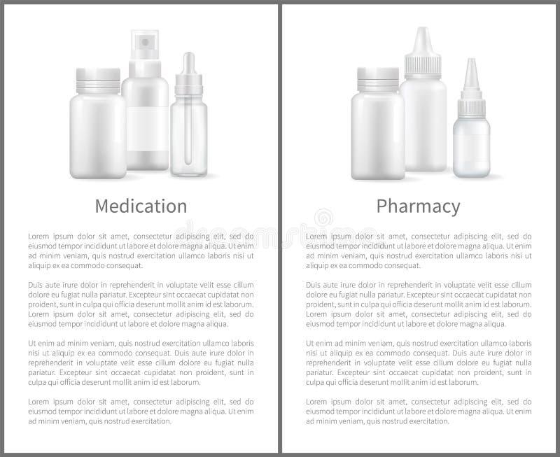 Espray nasal y botellas del cartel de la farmacia de la medicación ilustración del vector