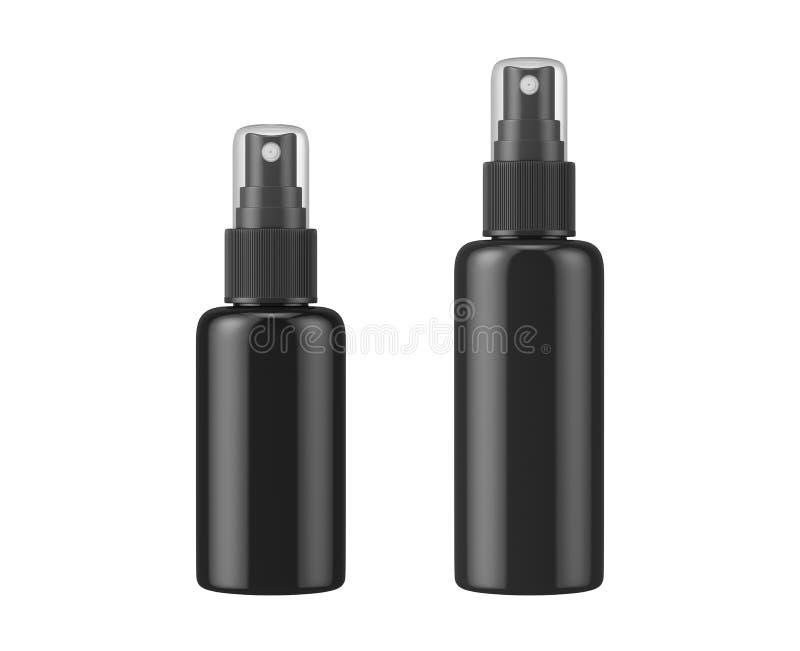 Espray negro de la botella aislado en el fondo blanco foto de archivo libre de regalías