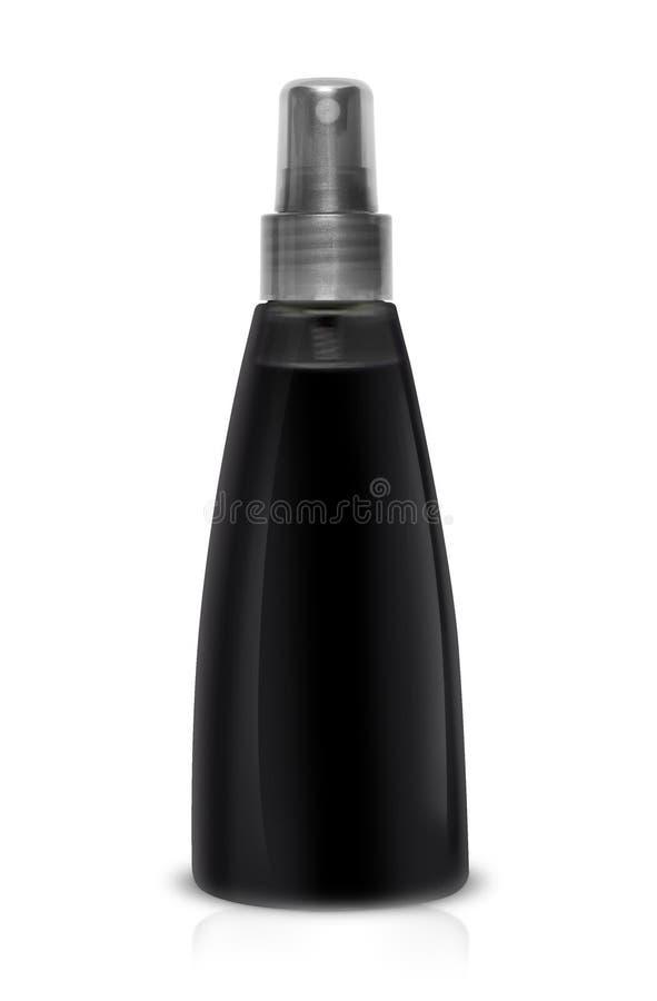 Espray plástico negro de la botella para el pelo en un fondo blanco foto de archivo libre de regalías
