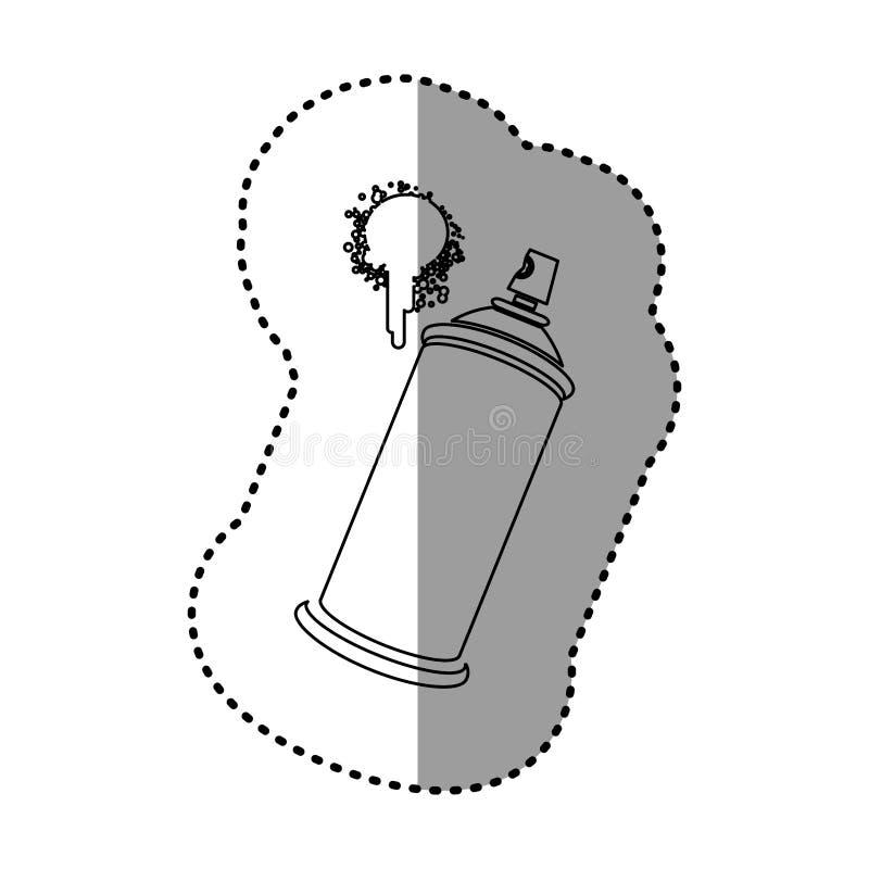 esprayes de aerosol del contorno con un icono de la mancha stock de ilustración