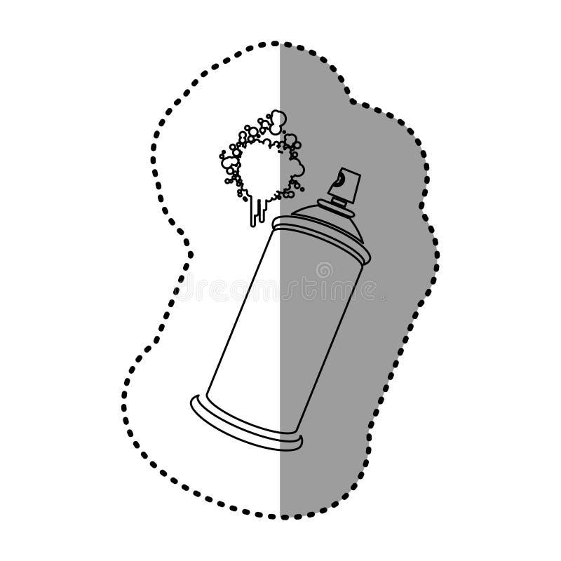 esprayes de aerosol del contorno con un icono de la mancha ilustración del vector