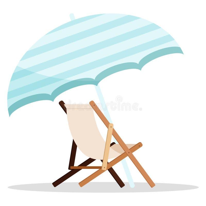 Espreguiçadeira de madeira da praia com o ícone azul do guarda-chuva isolado no fundo branco ilustração stock