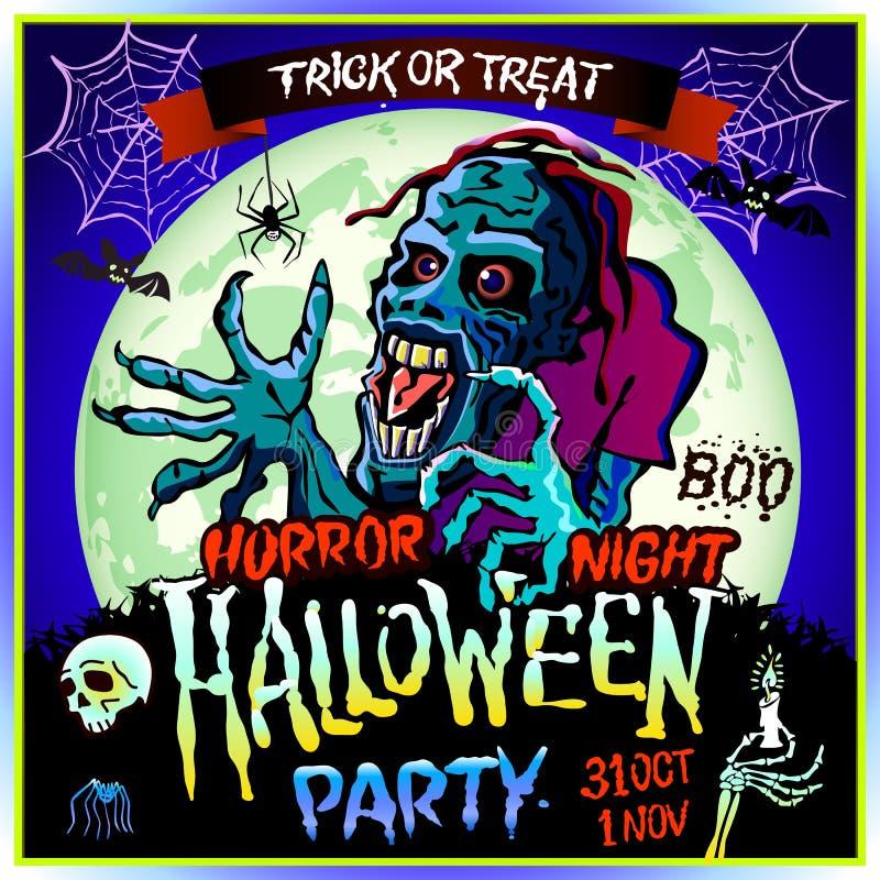 Espreitadelas do zombi acima no fundo de uma Lua cheia, ilustração no tema do partido do Dia das Bruxas 31 de outubro - 1º de nov ilustração do vetor