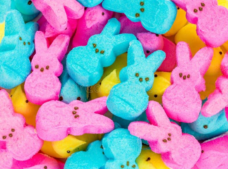 Espreitadelas textura-coloridas do marshmallow da Páscoa do fundo fotos de stock royalty free