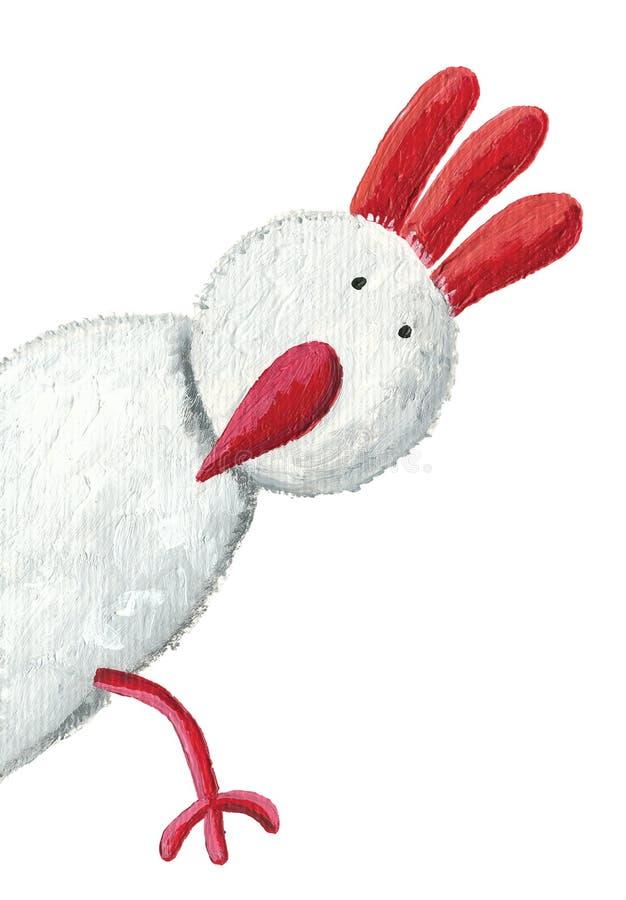 Espreitar branco da galinha ilustração do vetor