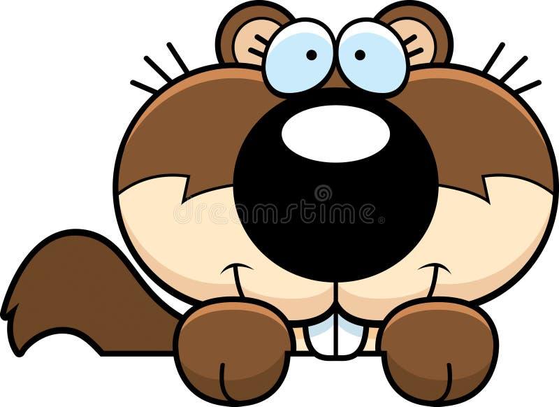 Espreitar do esquilo dos desenhos animados ilustração stock