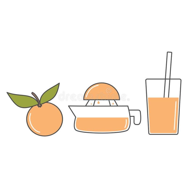 Espremedor de frutas manual do suco e ilustração alaranjada do grupo do vetor isolados no fundo branco ilustração stock
