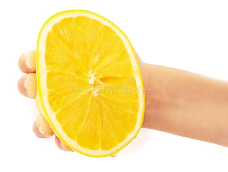 Espremendo a laranja isolada em um fundo branco foto de stock royalty free