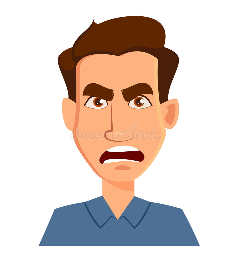 Espressione di un uomo - rabbia del fronte Emozioni maschii Personaggio dei cartoni animati bello illustrazione vettoriale